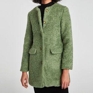 Zara light green faux fur coat